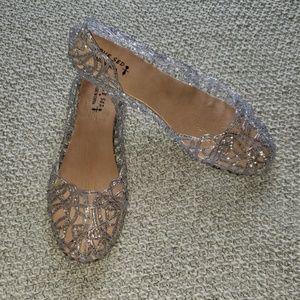 Silver Glitter Jelly Sandals/ Flats US L Sz 8-8.5